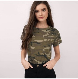 Women's Camouflage Printed Pocket T Shirt