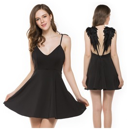 Women's Sexy Angel Wing Open Back V Neck Slip Dress Skater Mini Dress