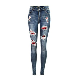 Women's Checked Paneled Distressed Slim Fitted Skinny Jeans