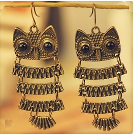 Exotic Retro Vintage Antique Bronze Owl Pendant Dangle Earrings