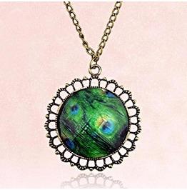 Vintage Peacock Gemstone Feather Antique Bronze Chain Pendant Necklace