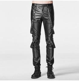 Punk Rave Men's Faux Leather Straight Leg Pants With Suspenders K219