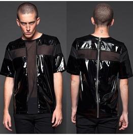 Gothic Crossing Mesh Top Shirt Men Pvc Vinyl Shirt Punk Lip Club Wear Top