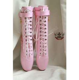 """18cm 7"""" Ballet Pointe Shoe Fetish Shiny Patent Light Baby Pink Calf Boots"""