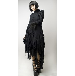 Punk Rave Women's Gothic Multilayer Irregular Skirt Black Q079