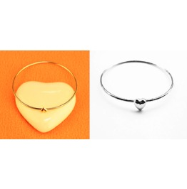 Simple Elegant Charm Gold Silver Good Karma Heart Bangle Bracelets
