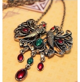 Antique Bronze Vintage Peacock Parrots Gemstone Long Chain Pendant Necklace