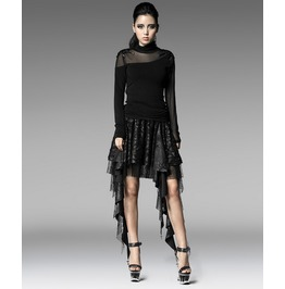 Punk Rave Women's Gothic Multilayer Asymmetric Forked Tail Lace Skirt Q201