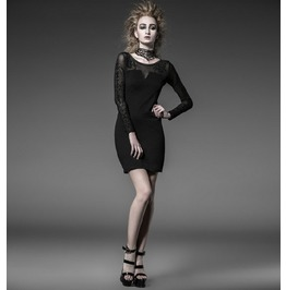 Punk Rave Women's Gothic Floral Mesh Long Sleeved Slim Fitted Dress Q215