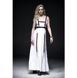 Punk Rave Women's Steampunk Straps White Jet Printed Maxi Slip Dress Q219