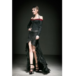 Punk Rave Women's Gothic Floral Lace Up Maxi Fishtail Skirts Q238