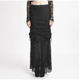 Punk Rave Women's Gothic Ruffles Fishtail Maxi Lace Skirts Q272