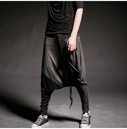 Men Rock Stretch Waist Baggy Drop Crotch Low Rise Harem Pants