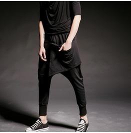 Men Black Drop Crotch Low Rise Harem Layer Pants