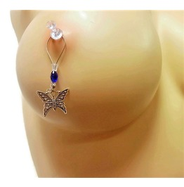 Tibetan Silver Butterflies Nipple Noose Non Piercing Nipple Jewelry