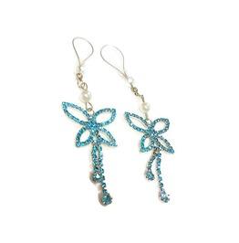 Blue Rhinestone Butterflies Nipple Noose Non Piercing Nipple Jewelry