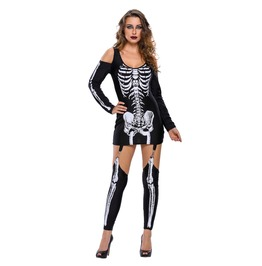 Ladies X Ray Halloween Costume Dress Skeleton Print Garters Suspeders S M L