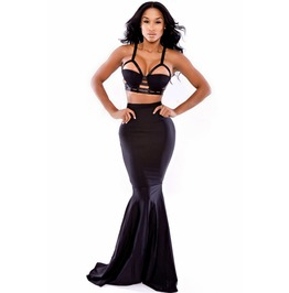 Black High Waist Bodycon Morticia Maxi Skirt Vampire Halloween Gothic