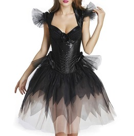 Sexy Black Gothic Sequined Backless Overbust Corset Dress Plus Size