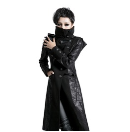 Punk Rave Women's Punk Winter Stand Collar Faux Leather Trench Coat Y420