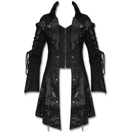 Mens Goth Steampunk Military Jacket Faux Leather Punk Black Posion Jacket