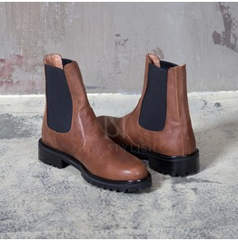Leather Elastic Band Mid Neck Chelsea Boots 364