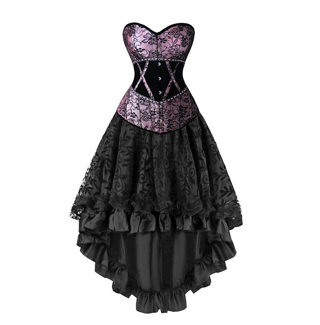 rebelsmarket_womens_gothic_overbust_corset_dovetail_dress_floral_with_lace_trimmed_mesh_bustiers_and_corsets_4.jpg