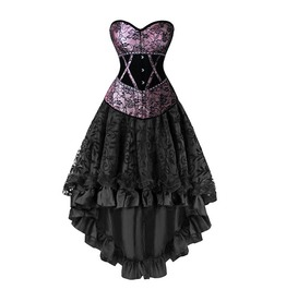 Women Burlesque Overbust Corset Dovetail Dress Floral With Lace Trimmed Mes