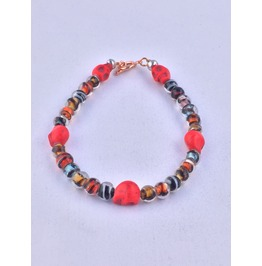 Artisan Made Day Of The Dead Bracelet Red Skulls And Fashion Beads