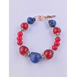 Artisan Made Day Of The Dead Bracelet Blue Skulls And Fashion Beads