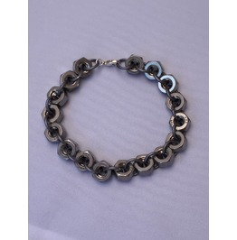 Artisan Made Stainless Steel Hex Nut Chainmaille Mens Bracelet Chain Mail