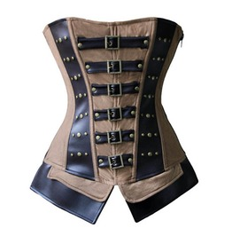 Steampunk Brown Faux Leather Flat Front Style Overbust Corset Plus Size