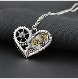 Vintage Heart Gear Pendant Steampunk Necklace Punk Rock Goth Victorian