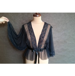 Romantic Elegant Gothic Tulle Cape Jacket, Enlorured With Satin Ribbon
