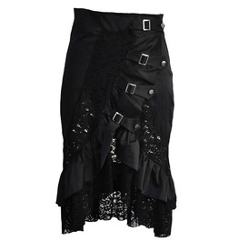 Black Satin Victorian Corset Skirt With Hollow Out Transparent Floral Lace