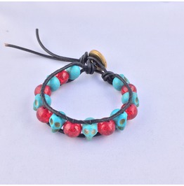 Artisan Made Leather Wrap Day Of The Dead Bracelet Blue Skulls And Red Bead