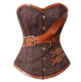 Brown Steampunk Brocade Sweetheart Overbust Corset Plus Size