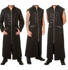 Men Hellraiser Coat Dead Threads Long Gothic Jacket Zip Studs Mens Punk Coa