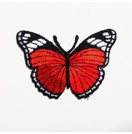 Cute Red Butterfly Embroidered Iron On Patch.