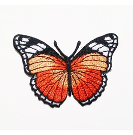 Cute Orange Butterfly Embroidered Iron On Patch.