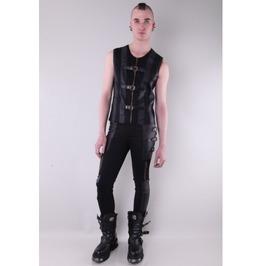 Black Buckle Belt Gothic Pants For Men P050070