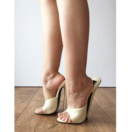 18 Mule 18cm Hi Heel Stiletto Fetish Slipper Slides Cream Sexy Mistress