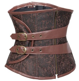 Brown Steel Boned Underbust Waist Trainer Steampunk Corset For Women