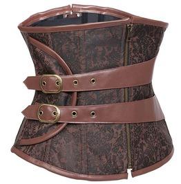 Brown Steel Boned Underbust Waist Trainer Steampunk Corset For Women