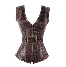 Brown Gothic Pu Leather Buckled Overbust Corset Plus Size