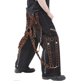 Men Dead Threads Orange Black Pant Men Cotton Trousers Studs Metal Punk Pan