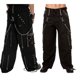 Gothic Men Black Crome Trousers Punk Rock Studs Metal And Chain Trouser Pan