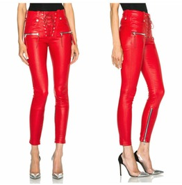 Women Hot Red Punk Washed Pu Leather Pencil Pant Gothic Women Trousers Legg