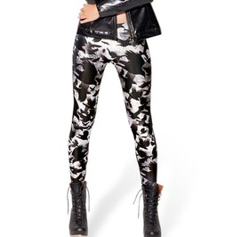 Women Gothic Milk Leggings With Crow Print Plus Size