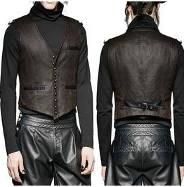 Men Steampunk Waistcoat Gothic Brown Faux Leather Vest Victorian Gentleman